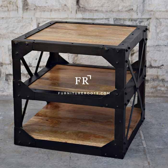 Metal Wooden Sidetable