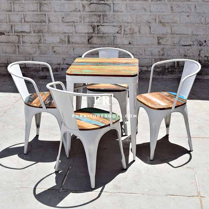 Retro White Metal Dining Set – Hospitality Furniture | FurnitureRoots