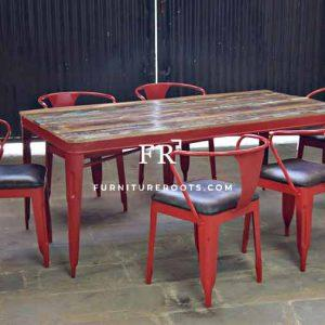 Reclaimed Wood Dining Table & Chair – Industrial Cafe Dining Sets | FurnitureRoots