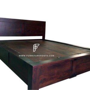 Mahogany Shade Solid Wood Hotel Bed